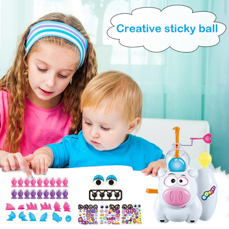 Children Kids DIY Handmade Creative Self Adhesive Ball Bubble Sticky Inflatable Toys Task Imagine Ability Education Funny Toys