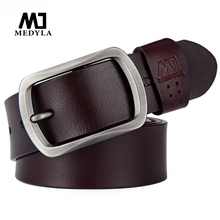MEDYLA casual business belt for men sturdy brushed steel buckle natural leather without interlayer brown mens accessories