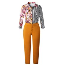 African Fashion Floral Print Stripe Single Breasted Long Sleeve Lapel Shirt Casual Pencil Pants OL Elegant Two Piece Sets