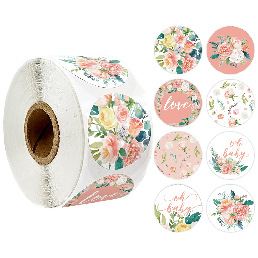 500 Pcs Pink Flower Stickers Rolls For Love Oh Baby Cute Stickers Labels For Wedding Party Scrapbooking Envelopes Seal Stickers