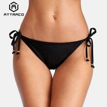 Attraco Women Bikini Bottom Ladies Side Bandage Swim Trunks Solid Color Swimwear Briefs Sexy Swimming