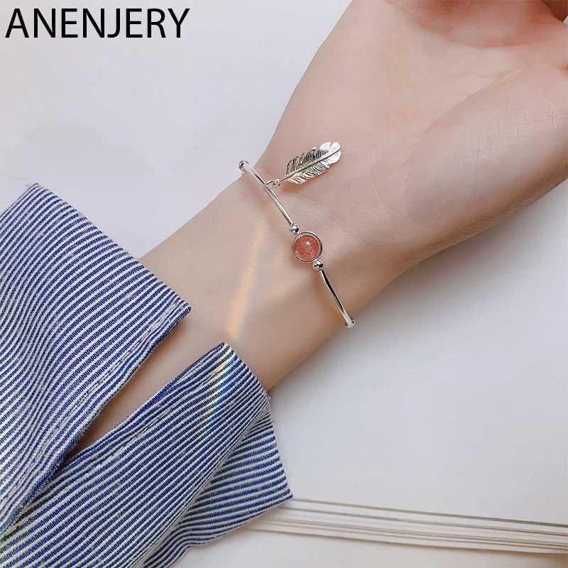 Anenjery Moon Star Imitationn Pearl Charms Armband 925 Sterling Zilver Gradiënt Maansteen Zirkoon Armband Voor Vrouwen S-B304