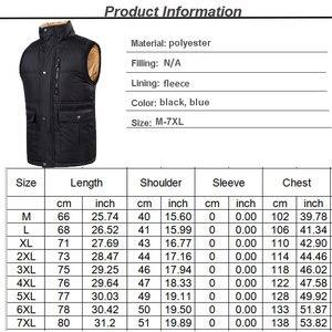 Image 5 - Autumn Winter Fleece Mens Vest Casual Mens Sleeveless Solid Color Black Warm  Plus Size 7XL Thick Mens Vest Jacket Casaco Gilet