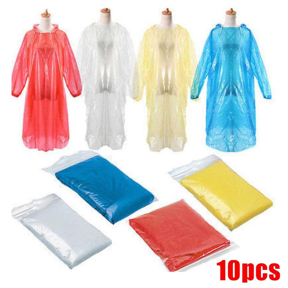 10 Pcs Disposable Raincoat Protective Clothing Adult Emergency Waterproof Rain Hood Poncho Hiking Camping Rainwear Raincoat