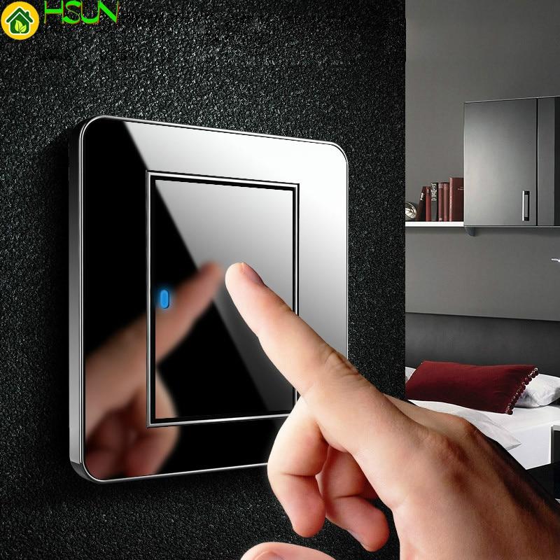 Type 86 Black Mirror Switch Household Wall TV Computer Socket LED Light- Point Switch 1 2 3 4 Gang 1 2 Way  EU Socket USB