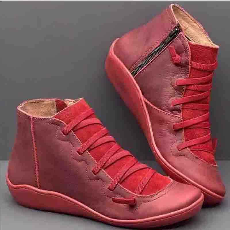 Kadın botları hakiki deri ayakkabı kadın Retro kış ayakkabı yarım çizmeler kadın moda Zip kahverengi çizmeler Botas Mujer