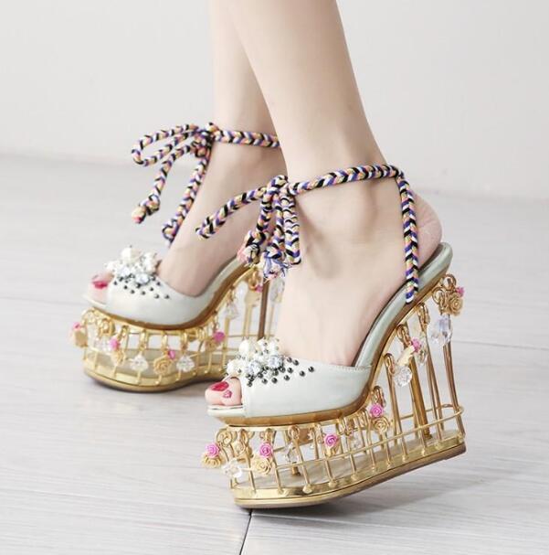 3D Цветочные клетки каблуки с узором открытый носок жемчуг женские веревки на шнуровке платформа клин сандалии Прямая доставка