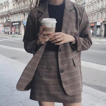 S-XL de talla grande para mujer conjunto de 2 piezas de ropa entallada coreana Chaqueta larga a cuadros + Falda corta ajustada traje de chaqueta de otoño para mujer