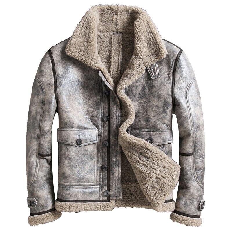 Chaqueta de piel de oveja de alta calidad para hombre, Chaqueta corta de piel de oveja de invierno, abrigo de piel auténtica para hombre