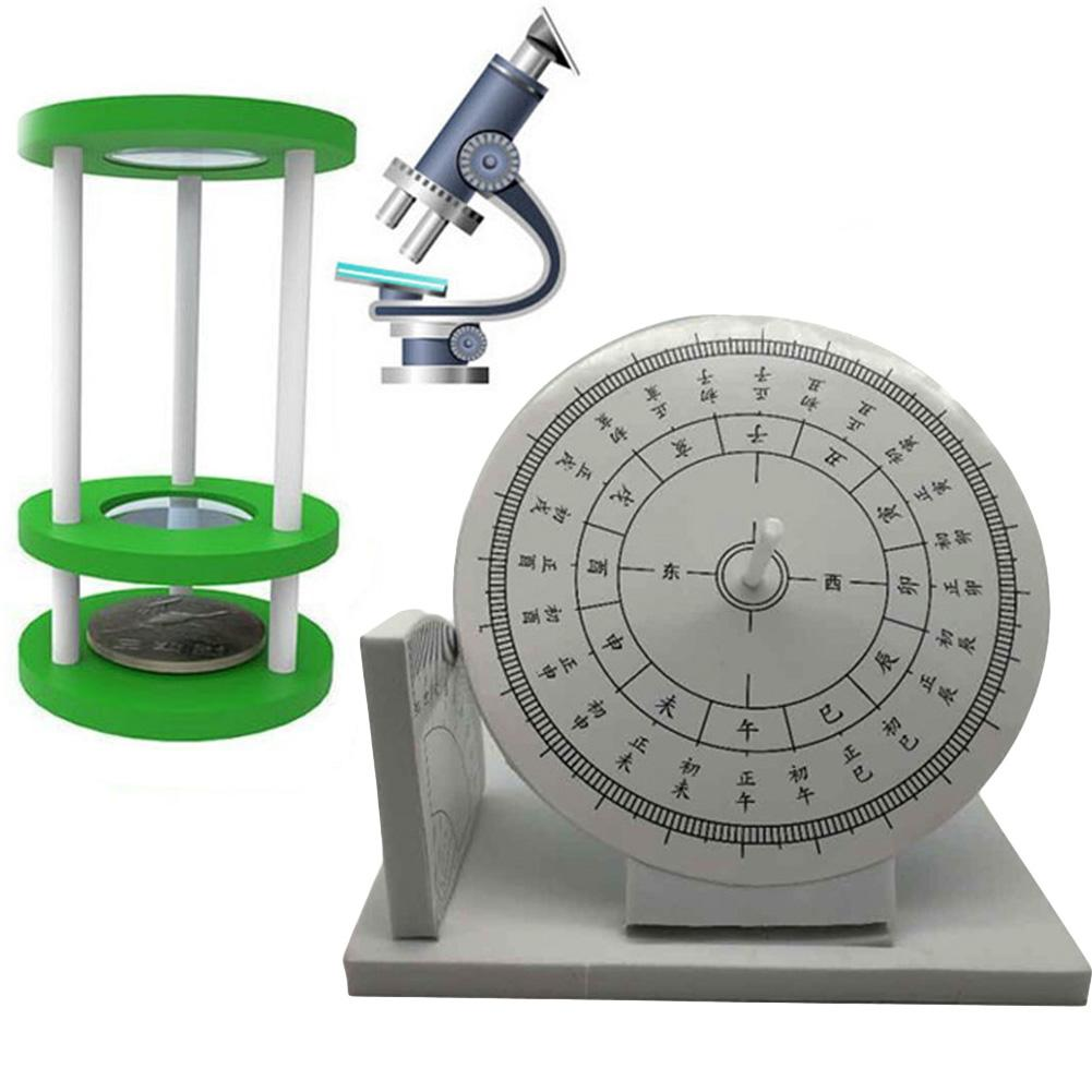 DIY Assembly Sundial Microscope Model Handmade Experiment Toy Learning Aids