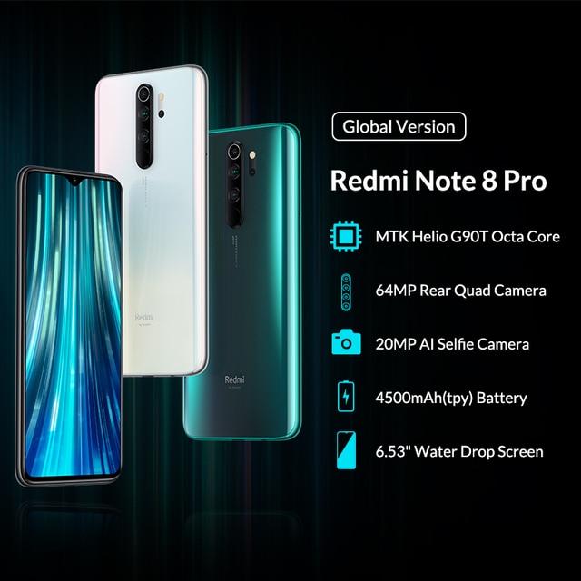 Global Version Xiaomi Redmi Note 8 Pro 6GB 64GB Mobile Phone 64MP Quad Camera MTK Helio G90T Octa Core Smartphone 4500mAh NFC 1
