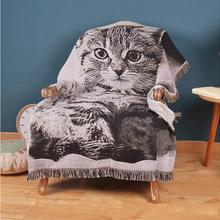 Manta de gato con flecos de algodón gris de punto Vintage 3D para cama sofá Picnic manta clásica de punto de algodón Vintage para el hogar del bebé