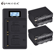 PALO 2Pcs 7200mAh NP-F970 NPF970 Rechargeable Battery +LCD Dual USB Smart Charger For SONY NP F930 F950 F960 F970 F770 F570