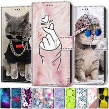 Śliczne śmieszne malowane klapki skórzane etui na Samsung Galaxy A50 SM A505F na A50s A507F Slot kart portfel zwierząt wzór okładka