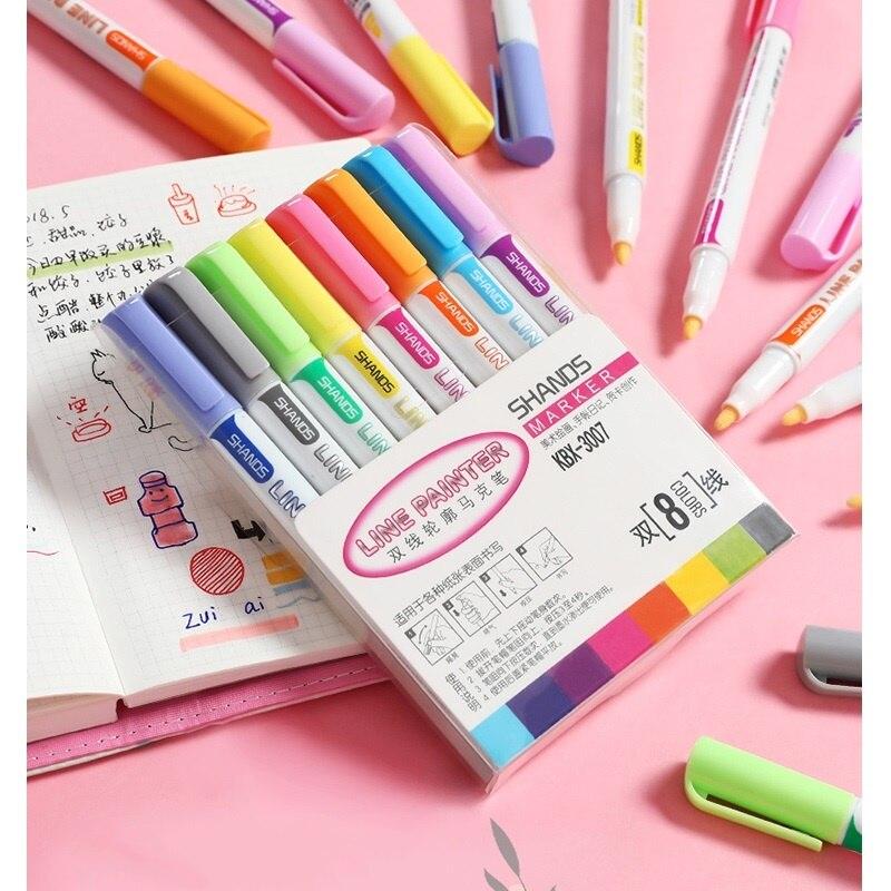8 Color Line Painter Pen Set Glitter Art Marker Liner Highlighter Lettering Drawing For Journal Diary Album Office School A6095