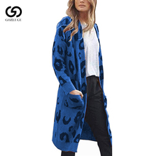 Women Knitted Leopard Print cardigan women Long Sleeve long Sweater Coat  Loose Knitted bear print buttoned knitted cardigan