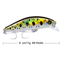 Minnow Hard Bait Fishing Lures 3.15-8cm Tackle Retail Box 11g with 6# Hooks 12 Color Baits 2019