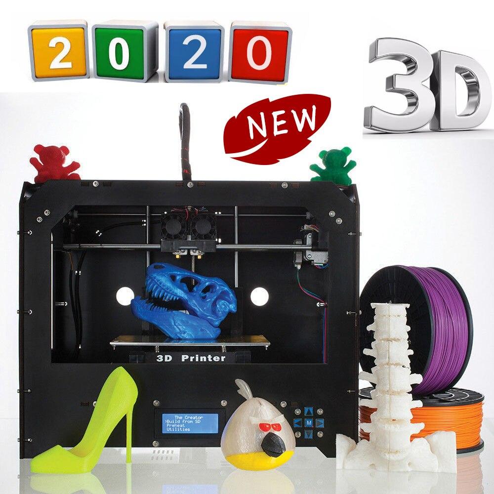 2019 модернизированный высококачественный двойной экструдер, 3d принтер PLA ABS