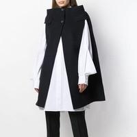 IHOBBY 2019 Designer Black Wool Cloak Coat No Seaming Collar Sleeveless Warm Wool Women Cape Coats Winter Clothing