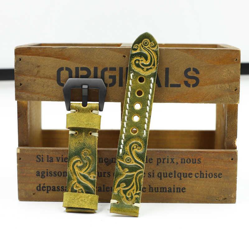 Onthelevel couro genuíno cinzelado em relevo pulseira de relógio 20mm 22mm 24mm pulseiras relógio artesanal do vintage para panerai # d
