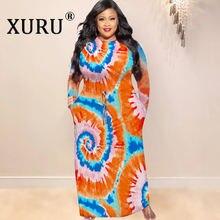 Платье xuru с принтом tie dye размера плюс популярное длинное