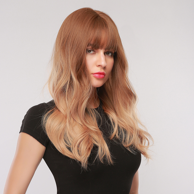 EASIHAIR Long Brown Womens Wigs with Bangs Water Wave Heat Resistant Synthetic Hair Wigs Daily Cosplay Wig
