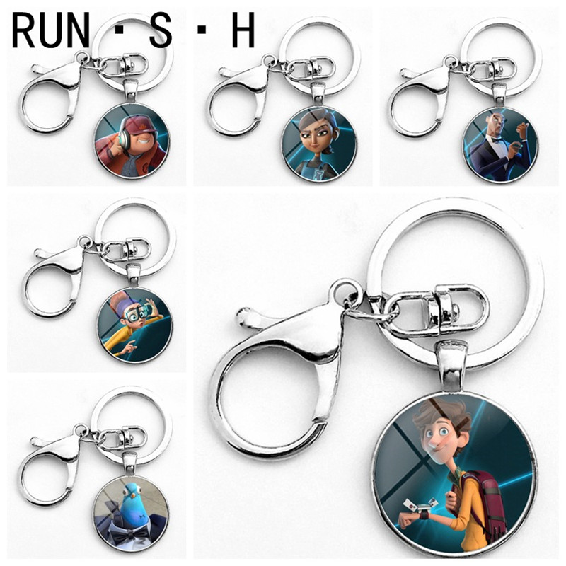 Creative Funny Character Science Fiction Cartoon Keychain Transform Agent Spies In Disguise Keychain Time Glass  Button Keychain