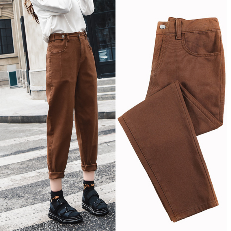 Woman Brown Jeans High Waist Plus Size Skinny Casual Denim Jeans For Women 2020 Spring Summer Harem Pants Pink Beige Brown Black