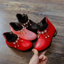2020 Girls Leather Shoes Round Head Baby Square Mouth Shoes Girls Sweet Soft Bottom Flowers Lace Princess Shoes Plus Size24-37(China)