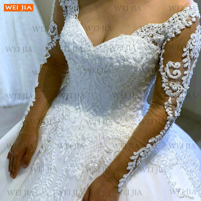 Luxury White Wedding Gowns 2021 Long Sleeves Lace Up Vestido De Noiva Appliqued Organza Ball Gown Bride Dresses Abito Da Sposa 5