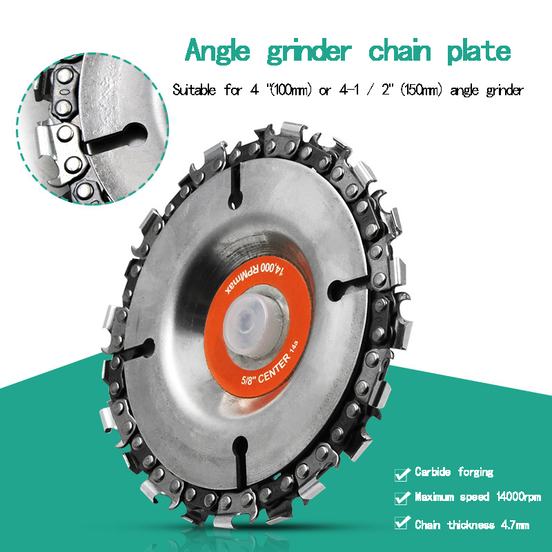 4 Inch Angle Grinder Chain Plate Wood Slotted Saw Blade Woodworking Chain Plate Cutting Blade Cutting Angle Grinding Chain Plate