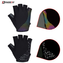 Darevie Reflective Cycling Gloves Half Finger Cycling Gloves Breathable Anti Slip Biking Gloves Safe Night Riding MTB Road Glove(China)