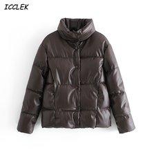 Зимние женские парки za из искусственной кожи теплые куртки