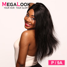 Megalook 13X6 Lace Front Human Hair Wigs 180% Straight Remy P/9A12-30 Human Hair 360 lace frontal wig pre plucked with baby hair(China)