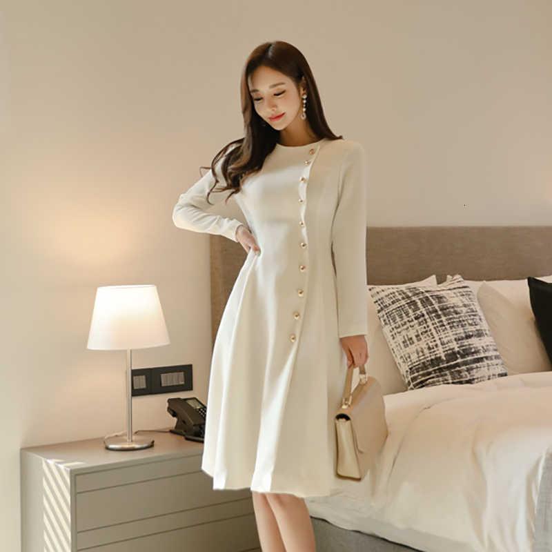 Elegant PARTY สีขาว SKATER Dress ชุดลำลองยาวลำลองผู้หญิงสำนักงานเลดี้รันเวย์นักออกแบบสูงแฟชั่นชุดฤดูหนาว