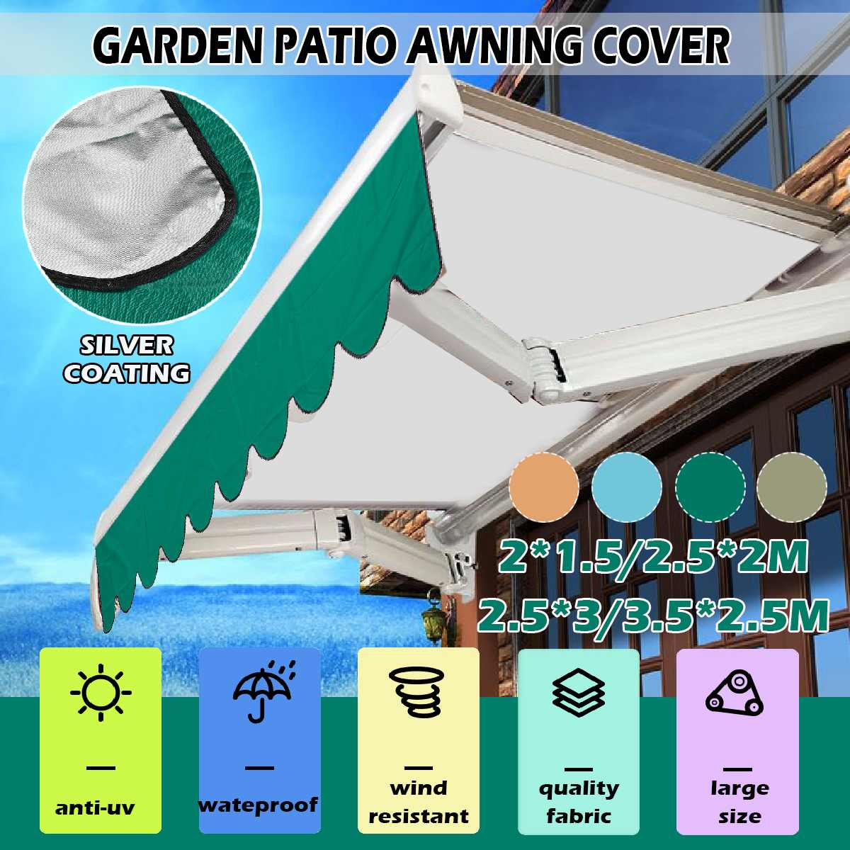 Large Sun Shelter Sunshade Protection Outdoor Canopy Garden Patio Shade Sail Awning Shade Waterproof