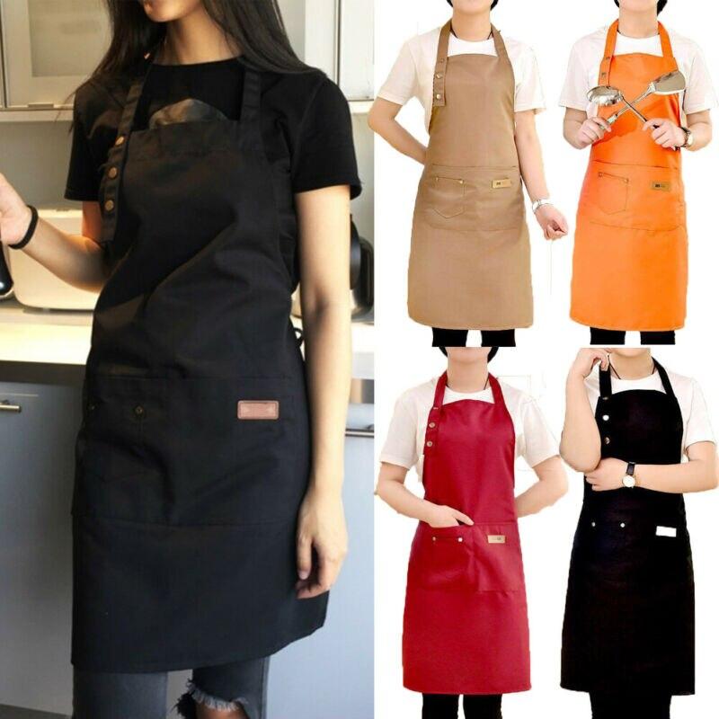 Nueva moda cocina delantal para mujer hombres Chef camarero cafetería tienda delantales de peluquería y de barbacoa Logo personalizado regalo Baberos al por mayor