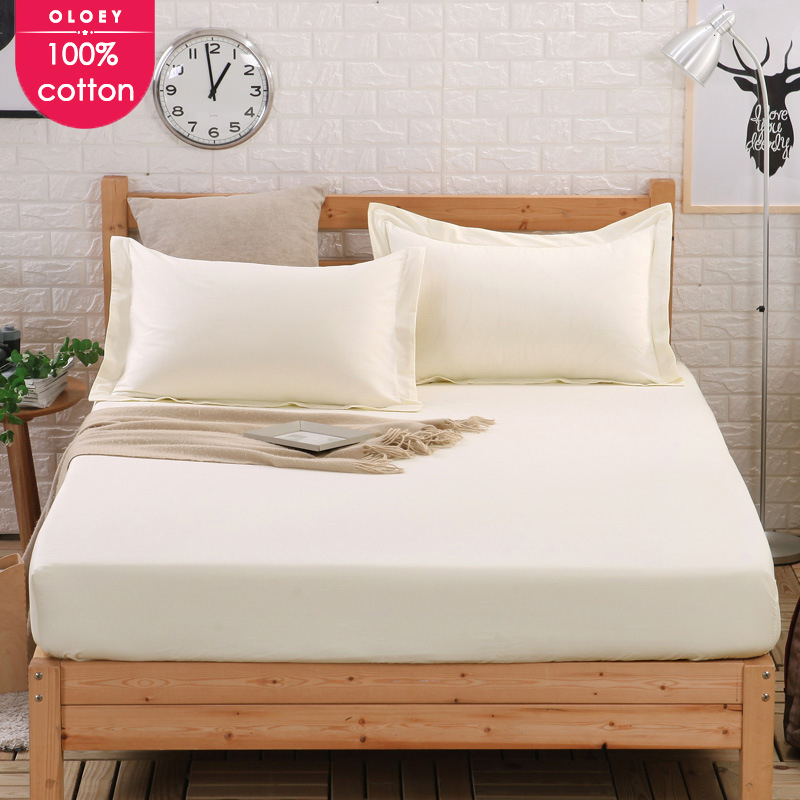 OLOEY 100% Cotton sheets bed fitted Sheet Mattress Cover Four Corners with elastic Band fit bedding Solid Color covers wholesale