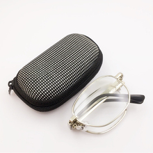 Practical Portable Folding Reading Glasses Oval Metal Frame Presbyopic Magnifying Eyewear with Case