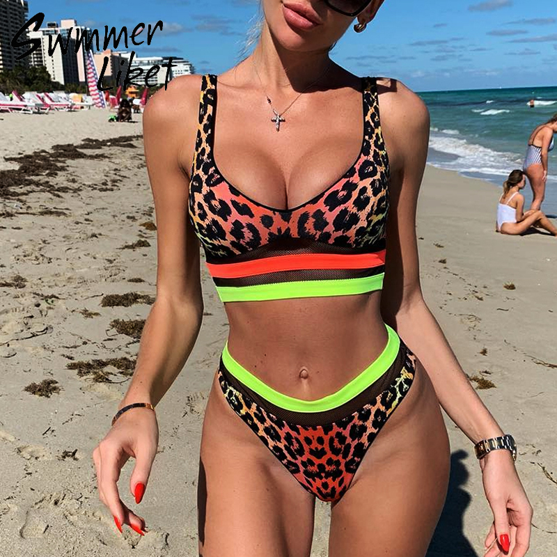 Leopard Swimsuit Female Push Up Bikini 2020 Mujer Patchwork Bathing Suit See Through Swimwear Women Summer Bathers Biquini New