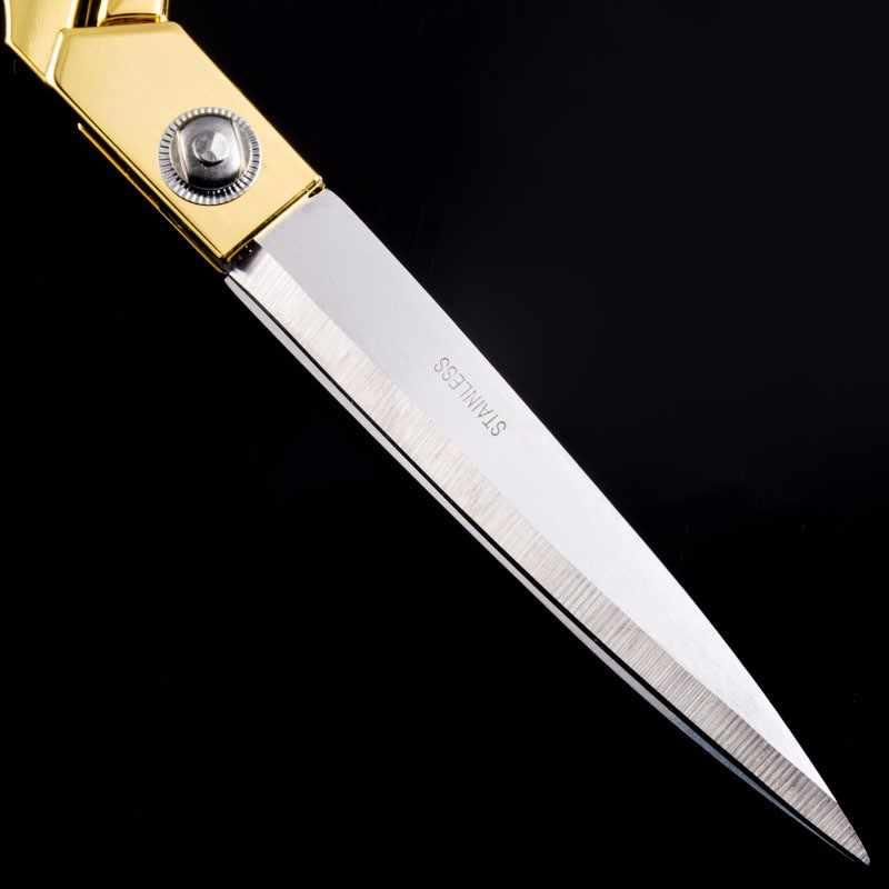 Profesyonel terzi Vintage yüksek kaliteli paslanmaz çelik makas deri kumaş kesici altın keskin İğne makas H