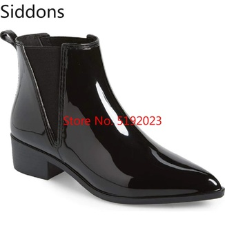 Winter Fashion Mens Ankle Boots Polished Glossy Chelsea Pointed Toe Slip on Luxury Men Vintage  D161