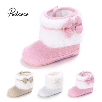 pudcoco 2020 Warm Kids Snow Boots For Children New Toddler Winter Princess Child Shoes Non-slip Flat Girls Baby Lovely Boots new winter snow boots children girls genuine leather boots princess student warm with plush toddler shoes kids 041