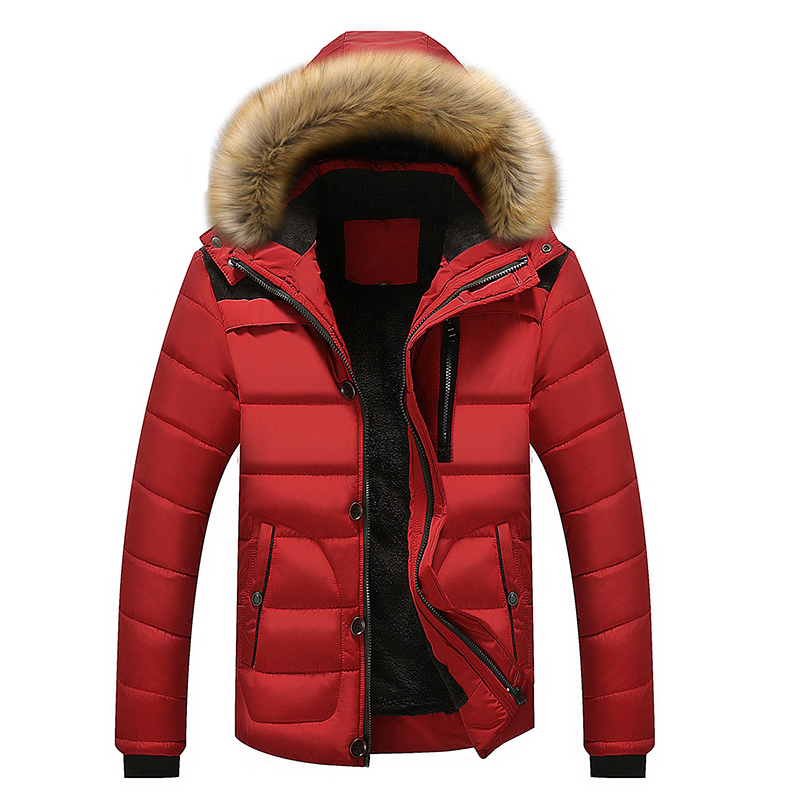 Hot Jacket Hooded Winter Solid Coat Men Thick Warm Mens Winter Jacket High Quality Father's Gift Parka M-5XL;YA502