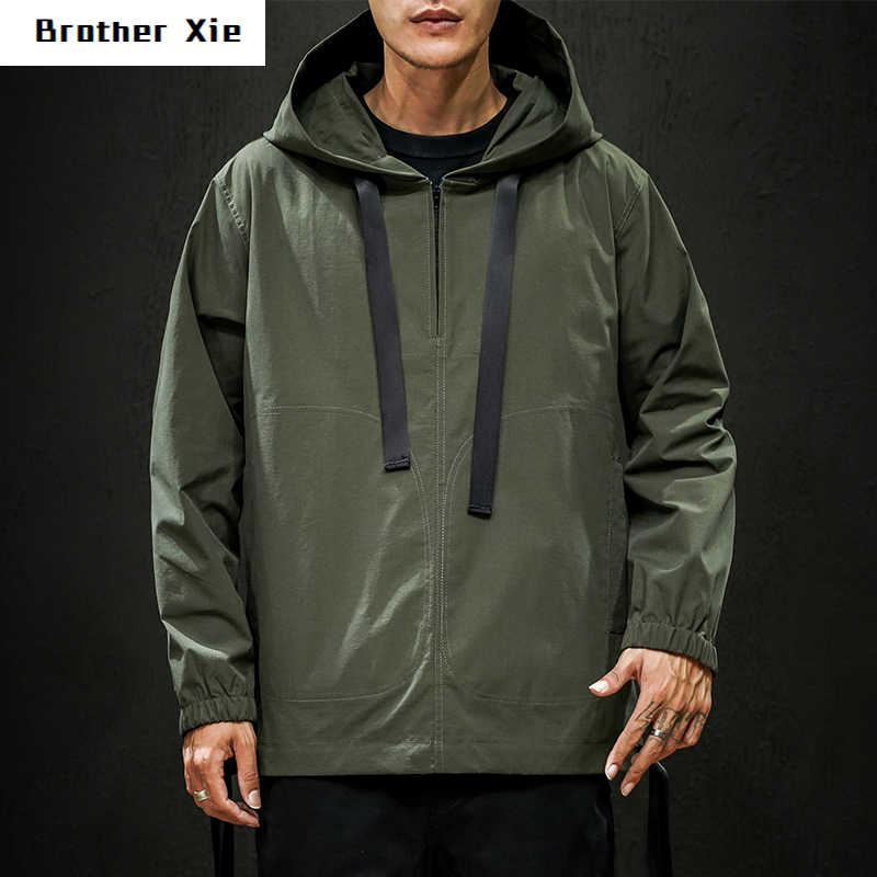 Autumn New Pullover Jacket Men Fashion Solid Color Casual Hooded Jacket Streetwear Hip Hop Loose Bomber Jacket Large Size M-5XL