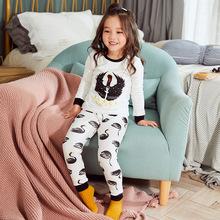 2019 xin chun qiu w nowym stylu mężczyźni i kobiety dzieci bawełna drukuj Cartoon piżamy komplet bielizny dziecięcej bielizna termiczna tanie tanio