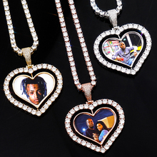 Personalise Heart Shaped Custom Photo Spin Double Sided Medallion Pendant Necklace With 4mm Tennis Chain Zircon Hip Hop Jewelry