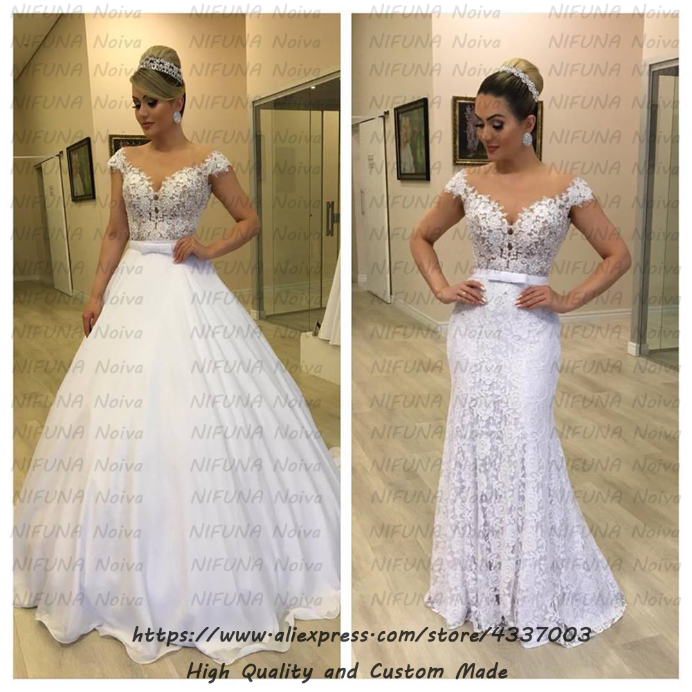 Cheap Wedding Dress 2 In 1 Brautkleid Sexy Beaded Lace Mermaid Wedding Dresses Removable Skirt Bridal Gowns Robe De Mariee 2019