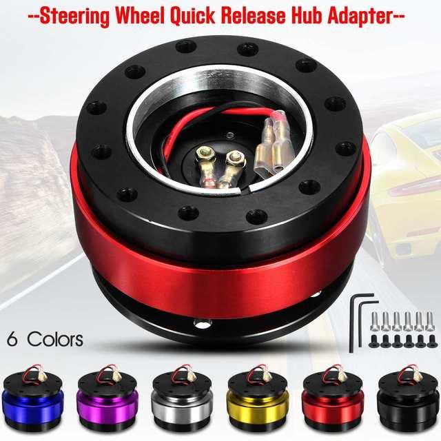 Universal Car Auto Quick Release Steering Wheel Snap Off Hub Adapter Boss Kit Aluminum 6 Hole