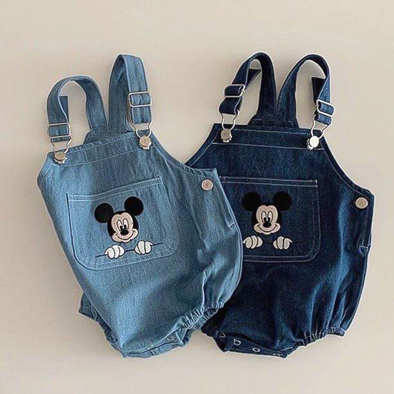 Disney Denim Baby Rompers New Summer Autumn Baby Clothes Unisex Cow Boy Mickey Mouse Outfit Girls Boys Cartoon OnesieRopa Bebe
